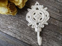 Shabby Chic Iron Hook/Antique White/Ornate/Cast Iron/French Country/Wall Decor/Bath Hook/Key Hook/Ready to Ship