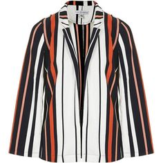 Tailored Stripe Cape Sleeve Blazer by Rare ($69) ❤ liked on Polyvore featuring outerwear, jackets, blazers, orange, white blazer jacket, orange jacket, white cape coat, striped blazer and orange blazer