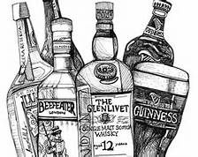 how to draw a alcohol bottle