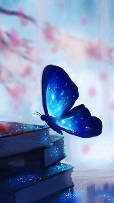 blue butterfly perching on hips of books Frühling Wallpaper, Blue Wallpaper Iphone, Spring Wallpaper, Blue Wallpapers, Cute Wallpaper Backgrounds, Pretty Wallpapers, Cellphone Wallpaper, Colorful Wallpaper, Galaxy Wallpaper