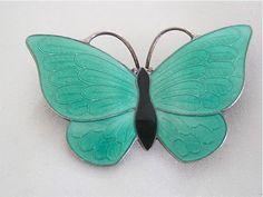 Vintage Sterling Volmer Bahner Denmark Green Guilloche Enamel Butterfly Brooch | eBay