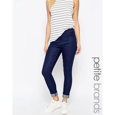 Waven Petite Freya Ankle Grazer Skinny Jeans ($38) ❤ liked on Polyvore featuring jeans, blue, petite, high waisted jeans, high-waisted skinny jeans, white super skinny jeans, white high waisted jeans and high rise skinny jeans