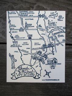 Letterpress Wedding Map - New York City. $3.00, via Etsy. - Cute stationary