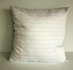 back to school Notebook paper organic cotton fabric cushion cover pillow, 16 inch, 41cm. $49.00, via Etsy.