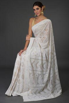 Heirloom Pick Ivory Chikankari With Kamdani Pure Georgette Saree