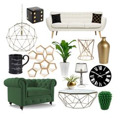 """""""Sin título #445"""" by mariananava ❤ liked on Polyvore featuring interior, interiors, interior design, home, home decor, interior decorating, Joybird Furniture, Jayson Home, Currey & Company and Kate Spade"""