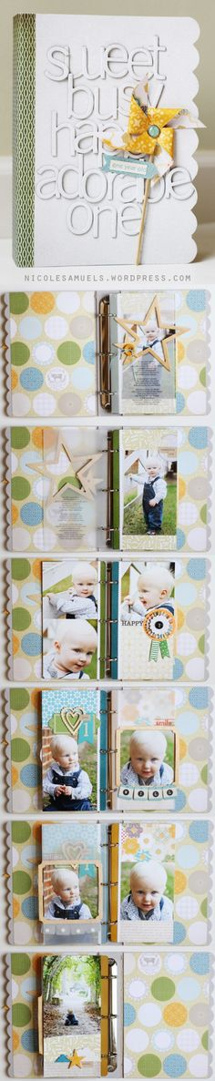 love the star frame in this mini album by Nicole Samuels #scrapbooking #studio_calico