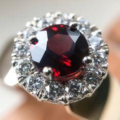 Garnet and Diamond Ring • Diamond Halo • Garnet Ring • Claw Setting •
