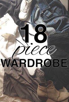 eighteen piece wardrobe from http://www.goingzerowaste.com. Minimize your wardrobe.