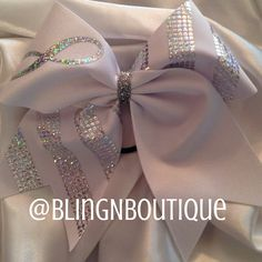 Infinity - White & Silver Cheer Bow