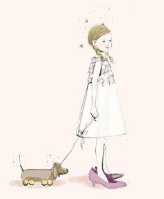 illustration - girl with dachshund