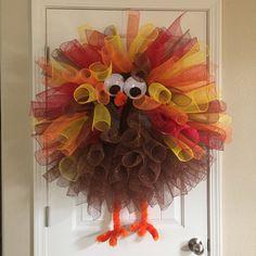 Deco mesh turkey wreath