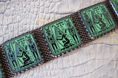 Art Nouveau Egyptian Style Czech Glass Panel Bracelet. Chunky Book Piece-Style. Egyptian Revival Art Deco Collectible Jewelry. Wide Bracelet by MaisonettedeMadness on Etsy