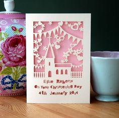 personalised papercut christening card by pogofandango | notonthehighstreet.com