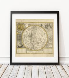 Zodiac and Map Constellation Poster
