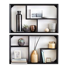 Give your room a makeover with stylish wall décor that also serves as storage. This 2-piece wall unit looks great on its own, or with your favorite pictures and keepsakes displayed on its shelves.