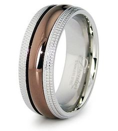 Payless Outlet 8 MM Stainless Steel Milgrain Edge Two-Tone Dark Rose Gold Wedding Band Ring Black Titanium Wedding Bands, Stainless Steel Wedding Bands, Wedding Ring Bands, Alternative Wedding Rings, Gold Bands, Jewelry Rings, Rings For Men, Rose Gold, Gold Wedding