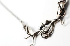 Praying Mantis necklace in antiqued white bronze by PaganIdolatry, $80.00