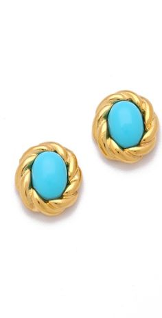 Kenneth Jay Lane Gold Twist Cabochon Stud Earrings $50