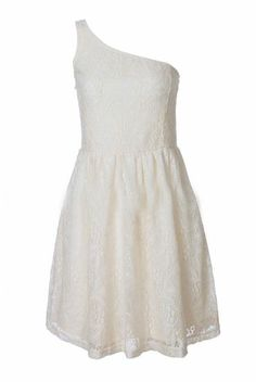 Beige Lace One Shoulder Pleated Party Dress