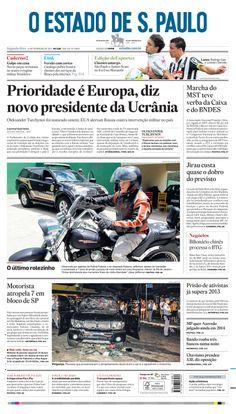 Capa de hoje: Prioridade é Europa, diz novo presidente da Ucrânia http://oesta.do/1fh59aJ