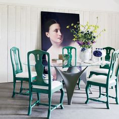 """""""In the 1700s, the King of Sweden gave Versailles style a Scandi twist, with muted colour and minimal flourish. Fast forward to 2011 and this trend is just as fresh, with new pieces at the pared-back end of opulent.  Ideal in the dining room, classic Gustavian style marries simple decoration with a sturdy build, for longevity in style as well as function - just like these chairs, made modern in green."""""""