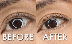I'm a Girl Without Curl When I Wear L'Oreal's Miss Manga Mascara, $7.99, before and after