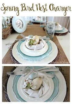 Dollar Tree Spring Bird Nest Charger, Easter tablescape - Hymns and Verses