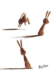 rabbit hopping away painted rock idea
