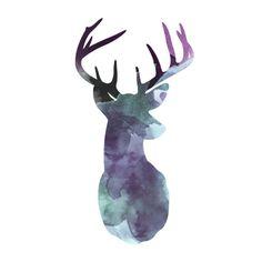silhuette Deer, watercolors, animals, canvas, illustration, rylie jaiden, Art Print