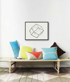 Love this grouping of pillows. Geometric Lines I  Original Watercolor by GeometricInk on etsy