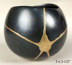 Kintsugi small black bowl