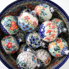 Christmas balls by Polish pottery, Ceramika Kalich that is well known for many beautiful patterns in cheerful colors