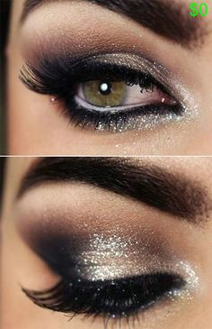 GORGEOUS silver  black eyeshadow thatll make green eyes stand out