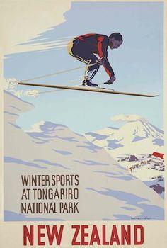 Winter Sports at Tongariro National Park Vintage NZ Poster for Sale - New Zealand Art Prints Vintage Ski Posters, Retro Poster, Poster Poster, New Zealand Art, New Zealand Travel, New Zealand Winter, Tourism Poster, Nz Art, Patterns