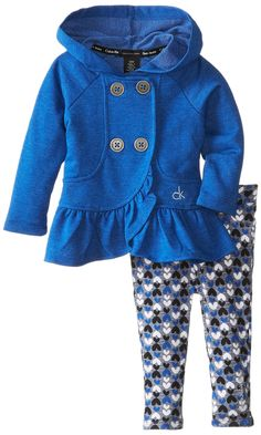 Calvin Klein Baby-Girls Infant Jacket with Hood and Printed Pants, Blue, 12 Months