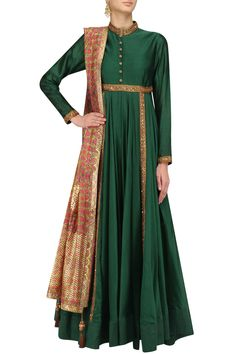 Forest green sequins embroidered kalidaar kurta set available only at Pernia's Pop Up Shop.