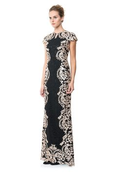 Contrast Paillette Embroidered Lace Panel Gown | Tadashi Shoji