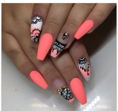 Coffin shape summer nails. Coral with designs.