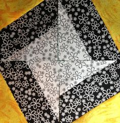 This is an excellent way to use your Black & White neutrals in combination with bright colors.For 1 or 2 blocks: Modern Quilt Blocks, Star Quilt Blocks, Star Quilt Patterns, Pattern Blocks, 9 Patch Quilt, Strip Quilts, Easy Quilts, Quilting Tips, Quilting Tutorials