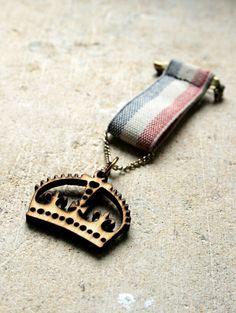 vintage wooden royal crown medal brooch by gennamaria on Etsy, $16.50