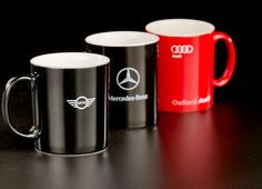 The Classic Cappuccino Mug has black to the face, and white inside, and comes with the option to have your logo printed on either side of the mug as the area fo