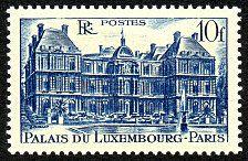 Le Palais du Luxembourg 10F bleu - Timbre de 1946