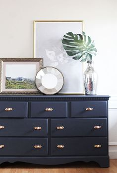In Honor of Design pumps up the style volume with this dresser makeover using Valspar chalky finish paint. - Dresser - Ideas of Dresser Chalk Paint Dresser, Chalk Paint Furniture, Lowes Chalk Paint Colors, Blue Furniture, Diy Furniture, Bedroom Furniture, Furniture Design, Valspar Chalky Paint, Chalky Finish Paint