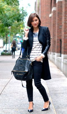 """Cold-Weather Outfit Idea: Include Glam Accents in a Monochrome Look  """"As much as I love color, sometimes I crave a monochromatic outfit. In this case, I paired navy and black together but added a sparkly sequined sweater for a glam touch. The sequins totally made the sweater and scarf pop.""""   —Christine Cameron, My Style Pill"""