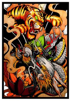 Battle of the Heavens Dragon Vs Tiger Art Print by Brokenpuppet Japan Tattoo Design, Tiger Tattoo Design, Japanese Tiger Tattoo, Japanese Tattoo Designs, Japanese Tattoos, Dragon Tattoo Art, Demon Tattoo, Leg Sleeve Tattoo, Chest Tattoo