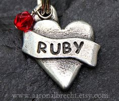 Dog Tag - Pet Tag - Personalized Dog Tags for Dogs - Pet ID Tag - Handmade Heart with Jewel by aaronalbrecht on Etsy https://www.etsy.com/listing/85635982/dog-tag-pet-tag-personalized-dog-tags