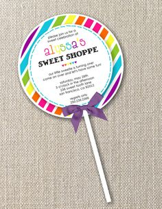 The Candy Land Collection Custom Lollipop Invitations by Mary Had