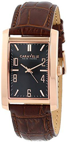 Men's Wrist Watches - Caravelle New York Mens 44A104 Analog Display Japanese Quartz Brown Watch * Want additional info? Click on the image.