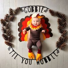 Baby's First Thanksgiving | Turkey Day | Gobble Til You Wobble | Monthly Mil...,  #Baby39...